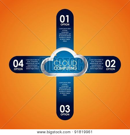 Technology design over orange background vector illustration