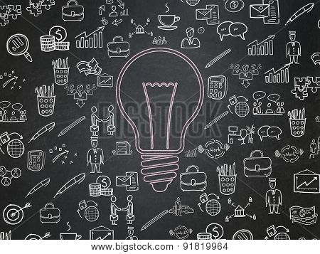 Business concept: Light Bulb on School Board background