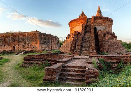 Pagoda ruins in the Inwa village near mandalay, Myanmar