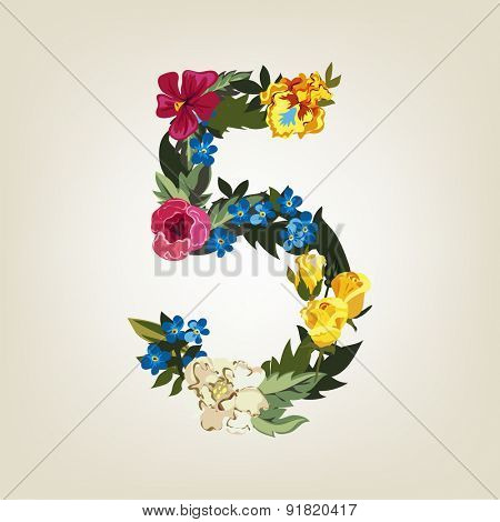 Number 5, Vector Colorful Flower Font For Your Design.