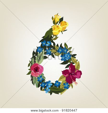 Number 6, Vector Colorful Flower Font For Your Design.