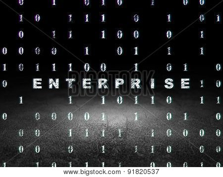 Business concept: Enterprise in grunge dark room