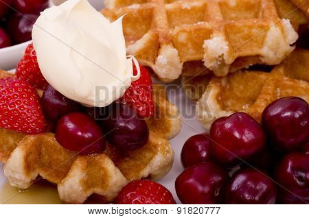 Belgian Waffles,  Summer Fruit and Drizzled Maple Syrup
