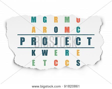 Finance concept: word Project in solving Crossword Puzzle