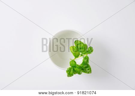 overhead view of empty bowl with basil leaves