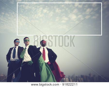 Superhero Businessmen New York Aspirations Concept