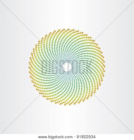 Abstract Background Circle With Green Dots Halftone