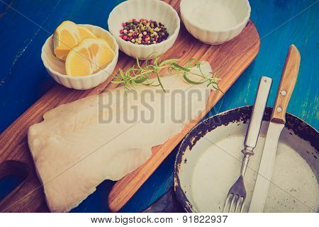Vintage Photo Of Raw Fish Fillets For Frying On Pan.