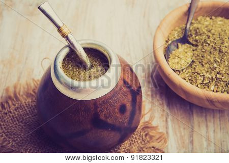 Vintage Photo Of Yerba Mate Tea Popular In Latin America