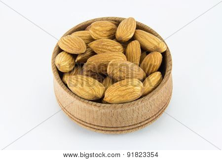 Almonds In A Round Wooden Form