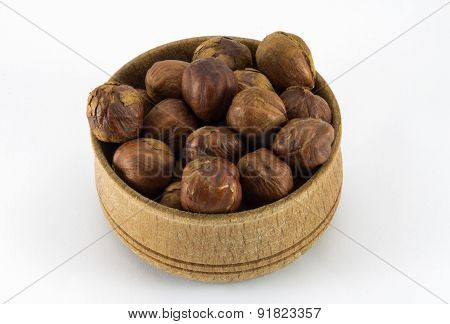 Hazelnuts In A Round Wooden Form