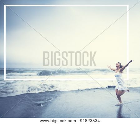 Young Woman Arms Raised Beach Relaxation Concept