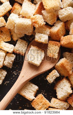Homemade Croutons In A Pan Close-up. Vertical Top View