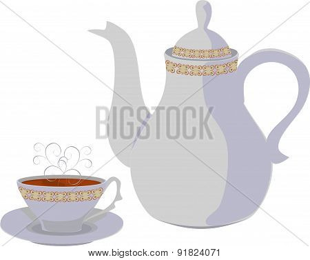 Kettle and Cup of tea. Vector isolated objects.