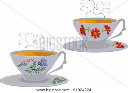 Vector illustration of cups with a floral pattern.