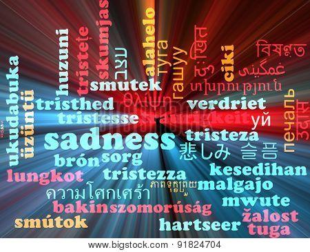 Background concept wordcloud multilanguage international many language illustration of sadness glowing light