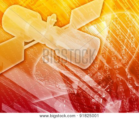 Abstract background digital collage concept illustration communications satellite