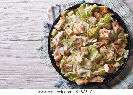 Caesar Salad With Chicken Horizontal Top View