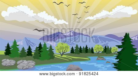 Illustration of beauty landscape with sunrise under lake and mountain