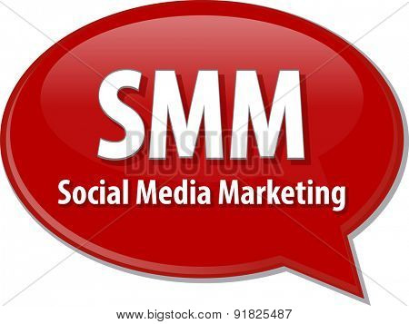word speech bubble illustration of business acronym term SMM Social Media Marketing
