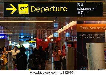 Departure Sign At Singapore Changi Airport