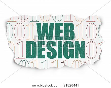 Web design concept: Web Design on Torn Paper background