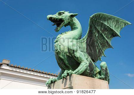 Green dragon on the dragon bridge in Ljubljana
