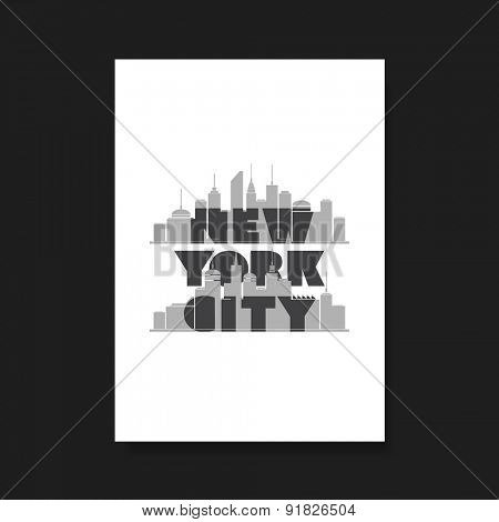 New York City - Bold Typographic Design for Flyer, Book Cover or Screen Print T-Shirt Design