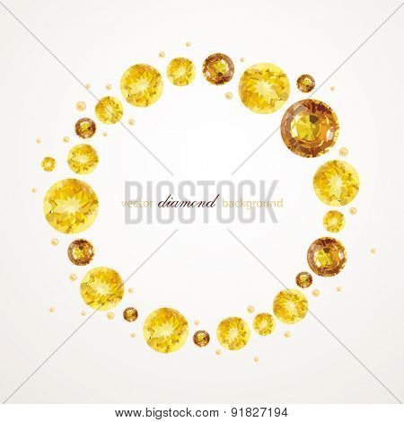 Abstract illustration of golden cycle with gemstones