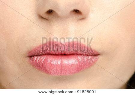 Pink gloss lips