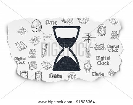 Time concept: Hourglass on Torn Paper background