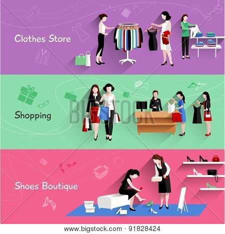 Woman Shopping Banner Set