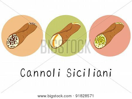 Hand drawn set of species of cannoli