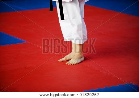 Karate Practitioner On Competition Floor