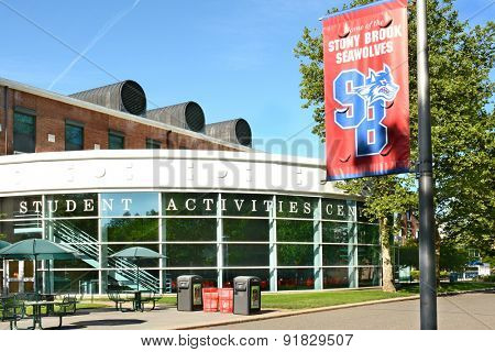 STONY BROOK, NY - MAY 24, 2015: Student Activities Center (SAC) at Stony Brook University with Seawolves banner. The institute is a top ranked academic university on New York's Long Island.