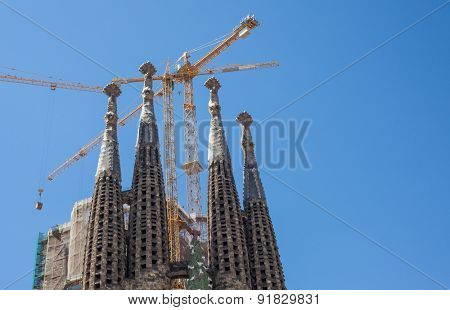 BARCELONA, SPAIN - APRIL, 2015: Top of La Sagrada Familia in Barcelona