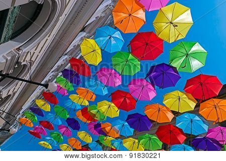 Street Decorated With Colored Umbrellas 2