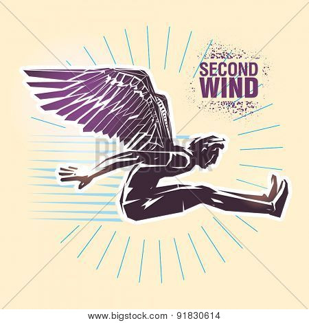 Long jump. Vector illustration created in topic