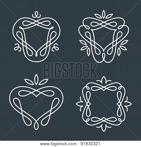 Set of simple line art monogram logo design