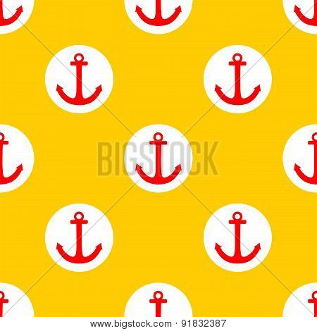 Tile sailor vector pattern with red anchor and white polka dots on summer yellow background
