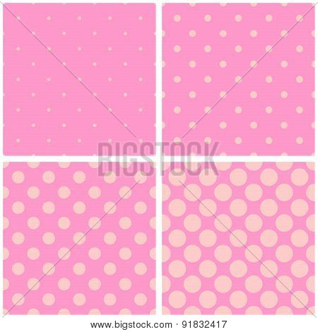 Tile vector pattern set with pastel polka dots on pink background