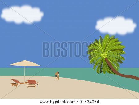Couple Strolling On A Tropical Beach