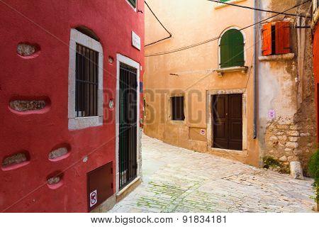Old Streets Of Rovinj, Croatia.