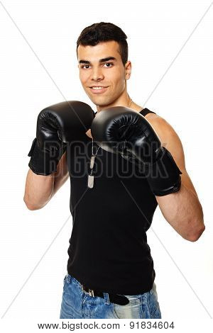 Young man with boxer gloves
