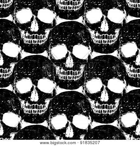 Skull Grunge Seamless Pattern