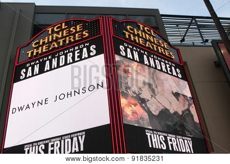 LOS ANGELES - MAY 26:  TCL Chinese Theater Marquee for San Andreas at the