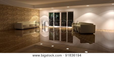 3D Render of Spacious Living Room