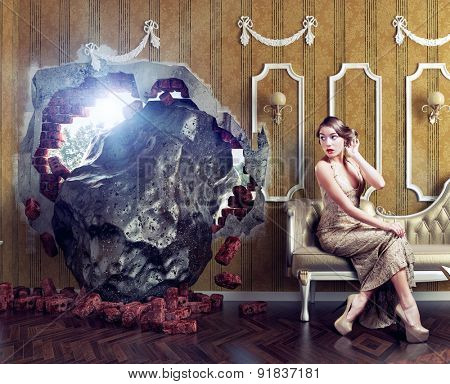 Meteorite enters the room, scaring the woman on the sofa. Photo combination creative concept