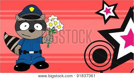 love raccoon police cartoon background