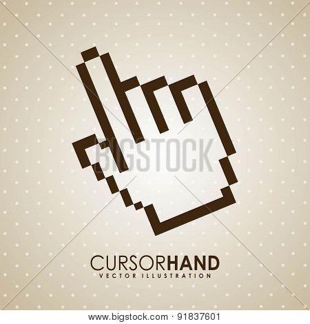 Hand design over beige background vector illustration